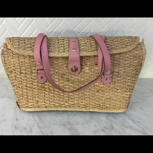 Kate Spade Straw Bag w/Pink Leather Handles Auth
